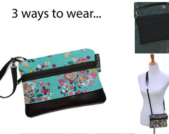 Cell Phone Purse - Fanny Pack or Wristlet - Cell phone Cross body Bag - Small Cross body Purse - Long Zip Bag- Bountiful Teal Fabric