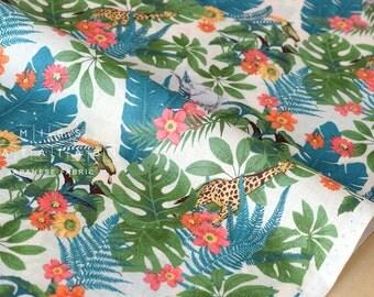 Japanese Fabric Tropics lawn - teal - 50cm