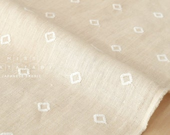 Japanese Fabric Embroidered Diamonds linen - cream, natural - 50cm