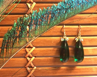 Green Agate Dangles with Apatite & Peridot, Gold