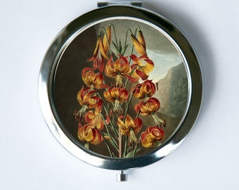 Yellow Orange Lily Lilies Flower  Compact Mirror Pocket Mirror
