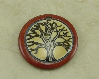 """Brick Brown Tree Disk Pendant - Tree of Life Motif with Ivory and Mocha Brown - Clay River Designs 1 1/4"""" Diameter I ship Internationally"""