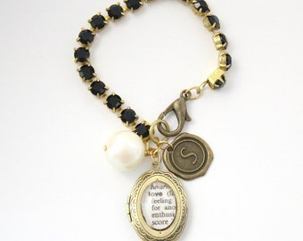 Personalized Word Bracelet Locket Jewelry - Gold Locket Charm with Initial Dangle on a black rhinestone chain