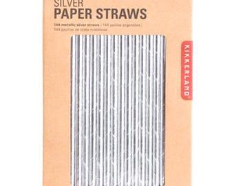 Kikkerland Metallic Silver Design Paper Straws - Box of 144-FREE SHIPPING