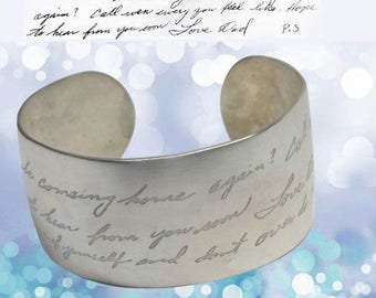 Actual Handwriting Wide Sterling Cuff by donnaodesigns