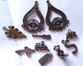 10pc mix style antique bronze finish metal findings-8113B