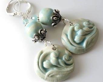 Porcelain Drop Earrings, Aqua, Cream, Silver Earrings, Beaded Earrings, Beaded Jewelry, Gift for Her, OOAK, Beach Colors