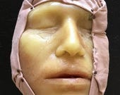 Wax Face from Museum Mounted on Fabric - Vintage Medical Oddity Curiosity Death Mask - #2