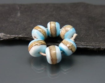 Handmade Lampwork Nugget Beads by GlassBeadArt … Light blue and silvered ivory ... SRA F12 ... 10x9mm