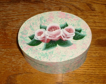 Handpainted wooden cheese box (Rose trinket box lined with felt)