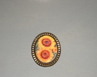 Sunflower Brooch in a lovely brass setting