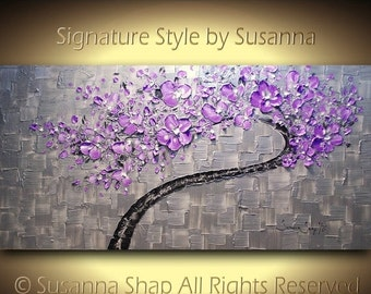 ORIGINAL Large Cherry Bloom Purple Twisted Tree Painting with a twist Textured Modern Palette Knife Art by Susanna 48x24
