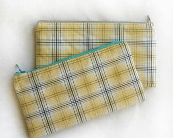 preppy yellow plaid unisex zipper pouch, school pencil or art supply bag, perfect for medication or epi-pen, cosmetic makeup travel purse