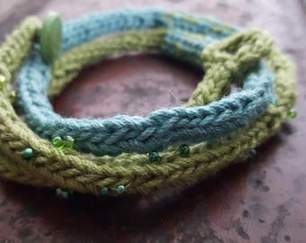Wrap around bracelet, blue and green, knitted bracelet, beaded knit bracelet, button closure, blue bracelet,