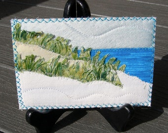 Fabric Art, Beach Quilted Postcard,Landscape Postcard,Fiber Art,Fabric Postcard, Landscape Art, Spring and Summer Vacation, Ocean