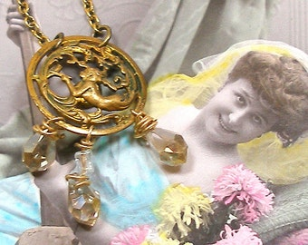 Mermaid BUTTON necklace, Art Nouveau Nymph on brass chain. Antique button jewellery.