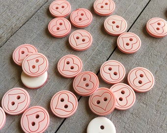 "Pink Heart Buttons (B55) TEN 1/2"" Light Pink and White Round Buttons with Heart for Sewing Crafts Knitting Crochet Scrapbook Valentine"
