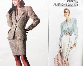 Vintage 80s Oscar de la Renta Vogue Paris Original Pattern Jacket Skirt and Blouse Uncut With Tag Size 6 8 10 Vogue 2159 30.5 31.5 32.5 Bust