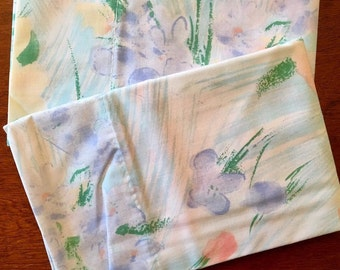 Unused Vintage Pillowcases - NOS Cannon Monticello Percale - Watercolor Floral NIP Cases
