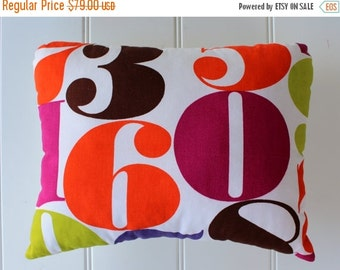 BIG SALE - Lucky Number Pillow - Vintage Fabric Pillow - 60 - Rare Mid-Century Fabric - One of a Kind - Mod Decor