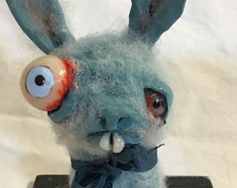 Blue bunny zombie ooak  art doll