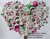 Floral heart No3 - modern counted cross stitch kit