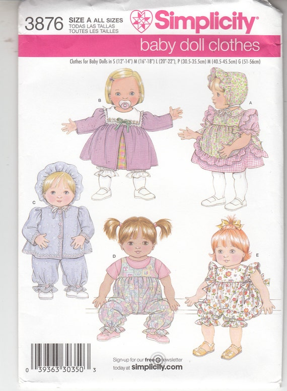 Simplicidad 3876 bebé muñeca armario vestido Pichi chaqueta pantalón ...