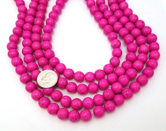 40 Hot Pink Beads 10MM round howlite bead (H7082)