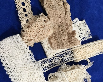 Clearance; 5 Plus Yards of Crocheted Lace; Vintage; Various Widths and Shades of White and Off White