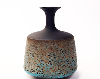 Mde To Order-  one stoneware black ceramic modern vase with blue/gold texture glaze by sara paloma pottery modern minimalist design decor