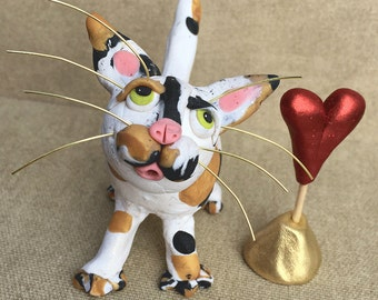 Valentine's Day Calico Cat Sculpture - Calico Cat Figurine - Polymer Clay Cat Sculpture - Calico Cat Valentine Gift - Gift For Cat Lover