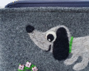 Zippered pouch pen case pencil case gray wool fabric with a needle felted gray dog doggie daschund