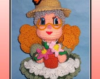 Gardening Fairy Doll Crochet Pattern, crochet fairy, crochet flowers, crochet wings
