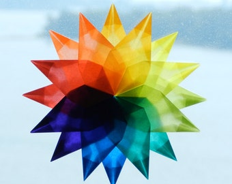 Hand-folded Kite Paper Rainbow Stars - One 16 Pointed and Two 8 Pointed Stars - handworkstudio