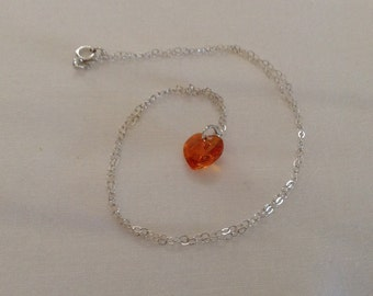Sterling silver / Swarovski orange heart pendant