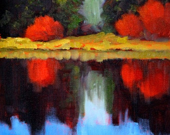 Colorful Landscape Oil Painting, Original 8x8 Canvas, Water Reflection, Forest, Blue Sky, Red Trees, Blue Lake, Small Wall Decor, Oregon