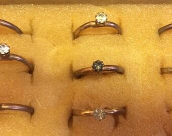 8 Vintage Adjustable Single Stone Metal Rings