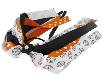 Volleyball Bow - Glitter Ribbon -Ponytail- Orange & Black - team sport ribbons -girls hair- softball soccer cheer gymnastics