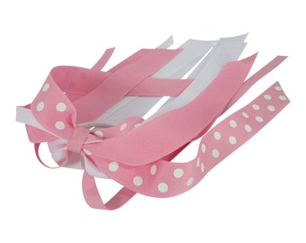 Ponytail Bow Streamer-pink and white polka dot cheer bow, any ribbon colors for girls, hair bow, ponytail holder