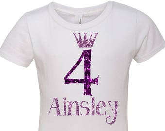 Purple & Lavender Glitter Birthday Princess Shirt - Name and Number Crown Girl's Tee