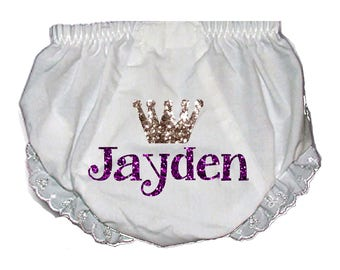 Princess Baby Bloomers with personalized Name, Purple and Silver/ Choose colors , Customizable