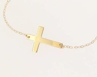 Sideways Cross Necklace - Small 14K SOLID Yellow or White Gold Cross Necklace