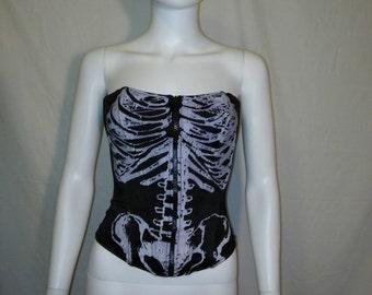Skeleton Bustier Bra, 90s Zip up corset