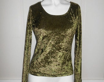 Closing Shop Sale 40% Off Olive Green velvet top blouse  long sleeve    vintage 90's                  womens women clothing clothes