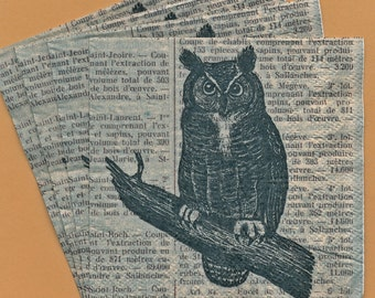 PN075 Set of 4 Paper Napkins by Cypress Home ~ 5x5 Fabulous Old Fashioned Owl, Dictionary Illustration
