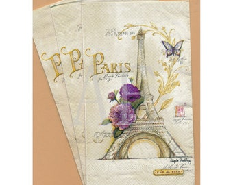 PN002 Set of 3 Paper Napkins by Cypress Home ~ 4.5 x 8 Fabulous Antique Collage Design ~ Eiffel Tower French Script Butterfly Purple Flower