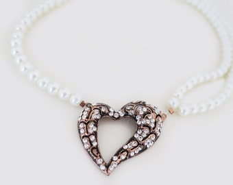 Rustic Heart Crystal Pearl Necklace Bridesmaids Gift Jewelry Special Occasion Necklace Girlfriend Gift Vintage Inspired Wedding Necklace