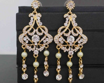 Gold Wedding Earrings Bridal Chandelier Earrings Gold Chandelier Earrings Bridal Statement Earrings Wedding Jewelry Vintage Art Deco Crystal