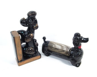 Vintage poodle book end and poodle mail holder, 1950s, Made in Japan, ceramic poodle figurine collectibles