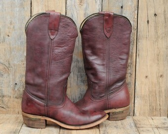 Leather Cowboy Boots, Us 5-1/2, Uk 3.5, Eu 36, Laredo Boots, Womens Cowboy Boots, USA MADE, Boho Festival Wear, Leather Boots,